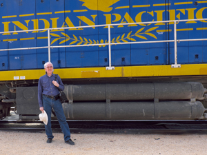 Glen in front of Indian Pacific loco